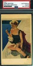 Anne Baxter 1950`s Psa Dna Coa Hand Signed 3x5 Index Card Autograph