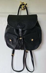 Dooney and Bourke Black Leather Backpack Handbag VTG All Weather Leather