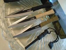 "Survivor Triple Harpoon Dagger Throwing Knife Spear Set w Fire Starter 753 6"" OA"