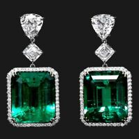 Antique Colombian Emerald and Diamond 14k White Gold Over Drop/Dangle Earrings