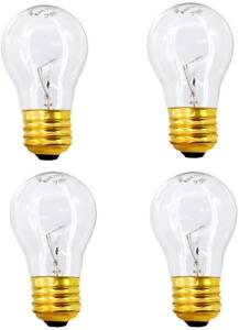 40 watt Appliance Oven Light Bulb Medium Brass Base High Temp 120v Clear 4 Pack