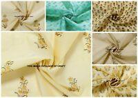 Indian Chanderi Silk Floral Print Fabric Sewing Dress Apparels Home Craft Decor