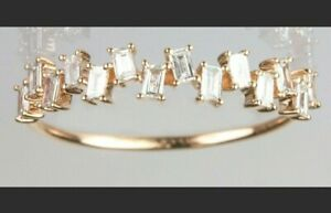 Ring Band with Baguette firework diamonds in 14k  Yellow  Gold .30CT