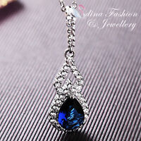 18K White Gold Plated Made With Swarovski Crystal Teardrop Sapphire Necklace