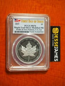 2019 $5 MODIFIED PROOF SILVER MAPLE LEAF PCGS PR70 FLAG FIRST DAY OF ISSUE LABEL