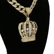 "Men's Hip Hop 14k Gold Plated Crown Pendant 15mm - 18"" Fully CZ Cuban Chain Set"