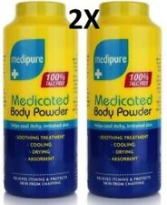 2 MEDIPURE MEDICATED BODY POWDER 100% TALC FREE HELPS COOL ITCHY, IRRITATED SKIN