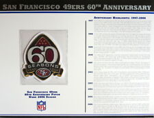 SAN FRANCISCO 49ers 60TH ANNIVERSARY Willabee Ward NFL PATCH INFO STAT CARD 2006