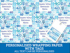 Personalised Happy 40th Birthday Wrapping paper - Blue 40th Gift Wrap