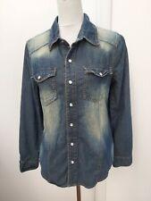 Denim Co Ladies Size 10 Blue Denim Shirt Distressed Top Primark Winter Fashion