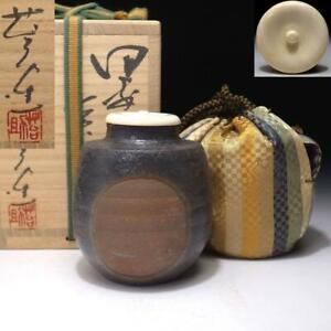$RS41 Japanese Tea caddy with High class lid, Bizen ware by Famous Taisuke Sato
