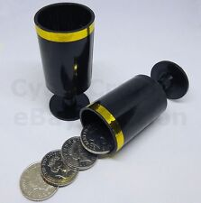 FLYING COINS FLY REAL COIN ACROSS CLOSE UP MAGIC CUPS  4 QUARTERS 10p 2p MONEY