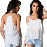 Coqueta Women's Flare Sleeveless STRAP Ruffle chiffon Shirt Blouse Top white new