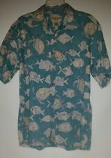 /  COOKE STREET Men's Hawaiian shirt w/ aquatic figures  Lg 100%Cotton