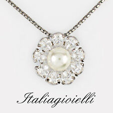 Collana Margherita Donna Argento 925 rodiato Oro Bianco con Perla e Brillanti