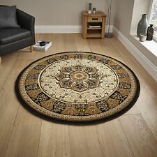"""Small Large Classic Heritage Medallion Hand Carved 14mm Black Cream Quality Rugs Circle / Round 150cm (4ft 11"""")"""