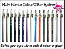 MUA Intense Colour Glitter Pencil Eyeliner Eye Liner Eyeshadow Black Brown Lilac