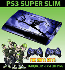 PLAYSTATION PS3 SUPER SLIM MOONLIGHT GOTHIC ANGEL SKIN STICKER & 2 PAD SKINS