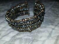 Silver Gold Beaded Open Cuff Bangle Bracelet