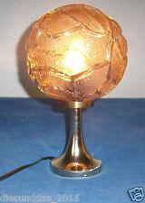 ARO Messing Tischlampe mit Brauner Glaskuppel Original 60er 70er Jahre