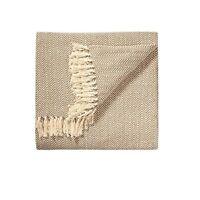 Natural Chevron Soft Cotton Handloom Blanket Throw    150cm x 125cm
