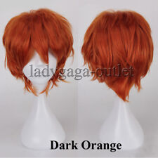 Anime Cosplay Synthetic Full Wig Short Layered Fluffy Hair Wig Women Men Blue Ld