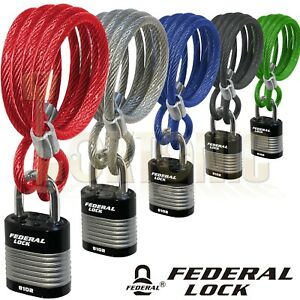 Federal Bike Bicycle Security 6.3mm Spiral Steel Cable Chain And 44mm Padlock