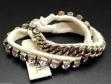Fossil Wrap Bracelet White Cotton Goldtone Button Crystals New! NWT