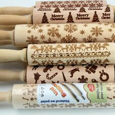 Dough Baking Rolling Tool Christmas Style Print Wooden Kitchen Roller Cookies