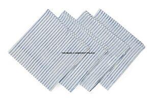 "4 Pack - 16"" Cotton Hand Block Print Dinner Napkins - 100% Soft Cotton Blue"