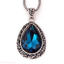 31.5'' Hollow-out Droplets Sapphire Blue Pendant Long Necklace Sweater Chain