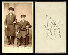 IMPERIAL RUSSIA, ORIGINAL ca 1900s CDV PHOTO PORTRAIT OF TWO MEN WITH CANE