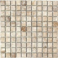 Mosaik Fliese Travertin Naturstein walnuss Noce Antique 43-1212-26_f 10 Matten