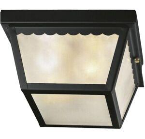 Hampton Bay Light Outdoor Flushmount Ceiling Light, Matte Black No Glass