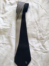 Christian Dior Vintage Striped Mens Tie Black Grey Red 100% Silk 80s