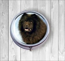 DOG BLACK CHOW CHOW PILL BOX ROUND -fht6Z