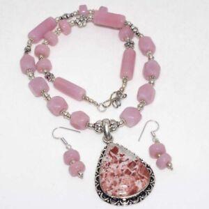 Rainbow Jasper Pink Chalcedony Gemstone Beaded Necklace Earrings Set GW