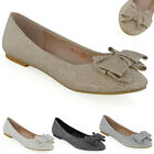 New Womens Ballerina Pumps Bow Sparkly Ladies Glitter Party Ballet Flats Shoes