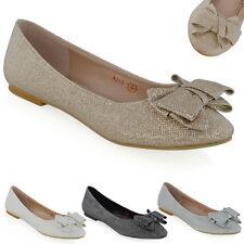 Womens Slip On Shoes Ballet Ladies Glitter Bow Ballerina Flat Pumps Size 3-8