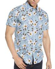 Ted Baker London Men's Short Sleeve Baboo Sateen Hawaiian Floral Shirt Blue