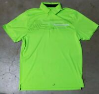 Under Armour UA HeatGear Men's Neon Green Golf Polo Shirt Size Large Loose Fit