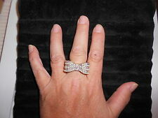 """Stretchband Ring (one size fits most) BOW W/TINY """"CRYSTALS & PEARLS"""" - SILVER"""