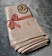 Antique 8 Royal Irish Linen Damask Napkins Scrollwork Florals Hemstitched Unused
