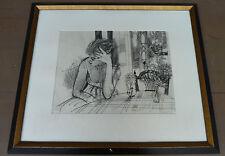 RAYMOND LEGUEULT DESSIN FUSAIN ORIGINAL 1960 JEUNE FILLE A TABLE OEUVRE RARE +++