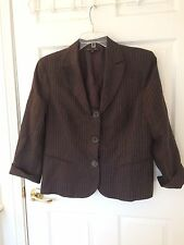 LAFAYETTE 148 SIZE 16 BROWN & WHITE STRIPED 100% LINEN LINED LONG SLEEVE JACKET