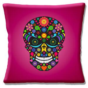 "Retro Mexican Day of the Dead Sugar Skull Magenta Multi 16"" Pillow Cushion Cover"