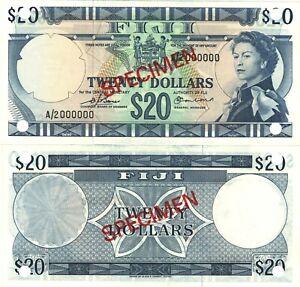 Fiji 20 dollars 1974 P-75s4 QE II sign. Barnes Earland UNC SPECIMEN