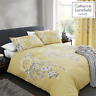 Catherine Lansfield Duvet Set Reversible Oriental Blossom Yellow Bedding Pillows