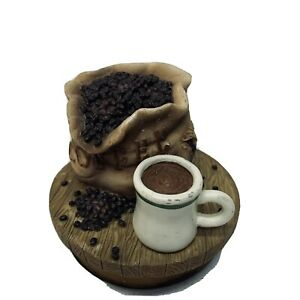 Candle Topper Coffee Bag Beans Cup Wood Base Ceramic Top on Wood Base Brown Z111