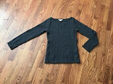 Tulle Womens Olive Green Gray Lambswool Blend Cable Knit Crew Neck Sweater Sz S